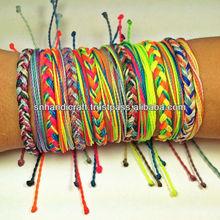 nylon string bracelet,beaded nylon bracelet,gold peace sign candy apple red