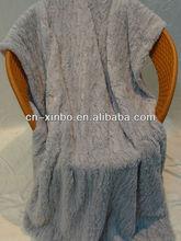 Soft Queen Size Gray Stripe Brushed Pattern PV Fleece Blanket/Bedding Sheet Blanket