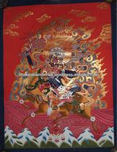 Red Palden Lama Thangka Buddhist Painting Handmade in Nepal