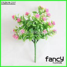 home decoration,7 heads pink artificial plastic flower bush making,plastic flower