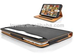For Apple iPad Mini Black & Tan leather Wallet Smart Flip Case Cover