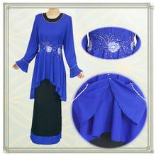 Latest design beaded chiffon baju muslim