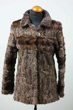 Beige Swakara Lamb & Mink Fur Jacket