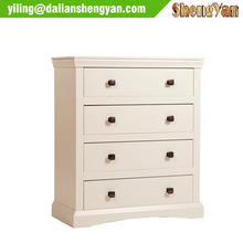 White Wooden Flat Pack 4 Chest of Drawers