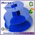 De diseño simple 3 nivel ronda de cartón de la torta de la boda se encuentra en azul, de la magdalena de cartón soporte de exhibición