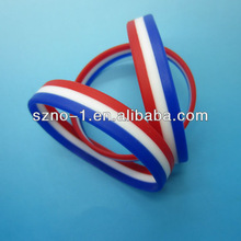 wholesale customized tricolors country flag layers france silicone bracelet