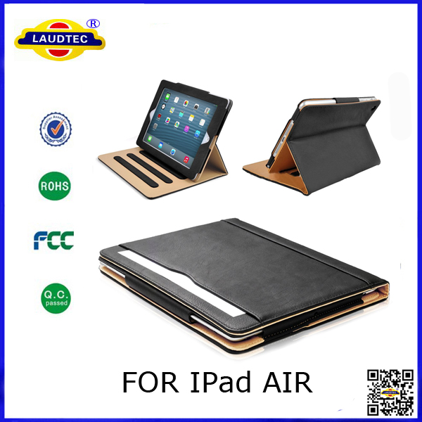 Premium tan leather case for iPad Air, Multi function case for iPad Air, Magnetic sleep/wake up