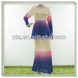 Fashion design beaded chiffon 2013 beading baju kurung