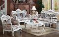 De estilo rústico de color blanco de madera sofá de tapicería/sofá de estilo moderno con patas talladas so-2013-55