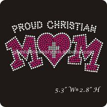 proud christian mom rhinestone transfer iron on hoodies