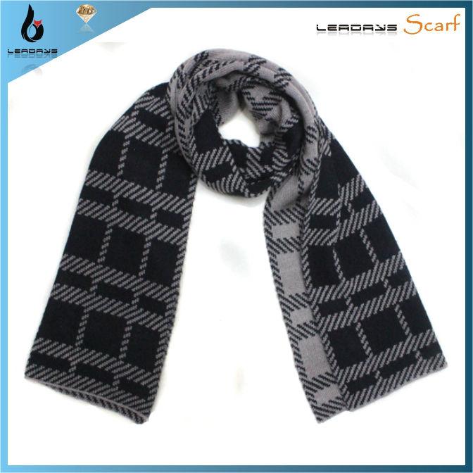 Men Tartan Wide Jacquard Knitting Pattern Scarf - Buy Jacquard Knitting Patte...