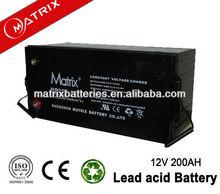 Absorbed Mat Glass VRLA solar battery 12V 200AH