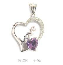 Fashion style ebay 925 silver plain heart pendant jewelry