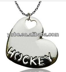 Heart shape hockey sports letter pendant jewelry