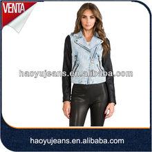 2015 autumn new fashion ladies PU leather collar jacket denim biker jacket leather sleeves (HYWJ908)