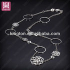 designer long necklace fashion hollow rose flower jewelry