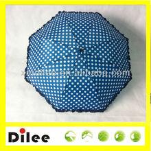 dots printed navy blue ruffle edge automatic 2 folding umbrella