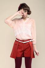 Japanese lovely style pink v-neck three-quarter sleeve chiffon splicing with lace women fashion shirt