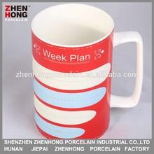 2015 Brand New Bone China Writing glazing coffee ceramic Mug with spoon