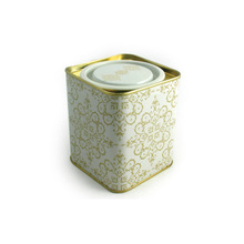 printed square metal tea cans with lift cover