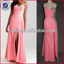 Long sweetheart chiffon ruffle side slit sexy evening dress 2012