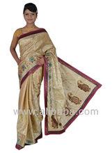 Creame/beige color Pure silk Rajkot Patola sarees