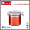 Stainless Steel Tea Canister in Color Orange