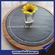 Upscale bamboo embed round black slate chopping board