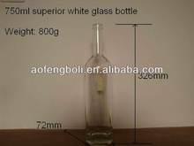superior white 750ml alcohol glass bottle