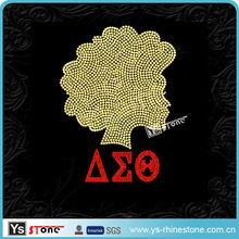 26B036 Afro girl and Delta Sigma Theta rhinestone heat transfer wholesale
