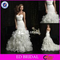 Alibaba rs123 Sweetheart Mermaid Gown Ruffled Organza 2014 Spanish Style Wedding Dresses