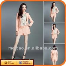 2014 Fashion Pink Ladies Short Cheap Women Pant Suit Set