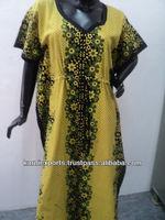 New cotton printed kaftan & robes dress / Long nightwear gown & summer wear dress in cambric fabric