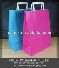 Wholesale flat handle 2013 kraft paper bag,paper bags wholesale