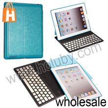 Aluminium Alloy Wireless Bluetooth Keyboard+Crazy Horse Pattern Leather Case for iPad 2/New iPad/iPad 4