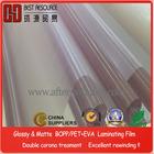 Glossy 15micron BOPP Thermal Laminating Plastic Film Roll/best quality/ plastic roll film