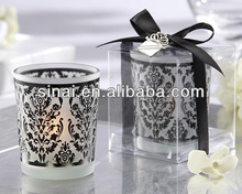 Wedding Damask Traditions Frosted Glass Tea Light Holder