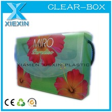 plastic pp offset printing handbag shaped box