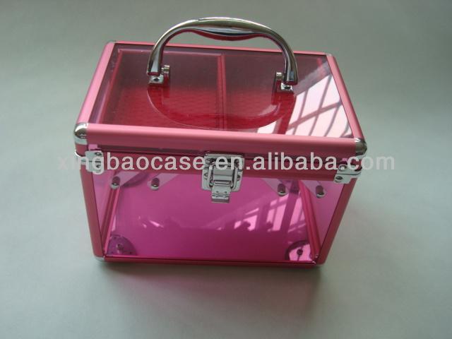 Transparent Cosmetic Case/Box/Beauty bag aluminum framed acrylic makeup case
