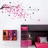 Swallows Pink Flowers Wall Stickers Reusable art Mural Children Decor Wall Paper