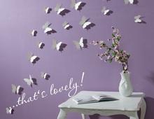 3D Butterfly Wall Stickers / Butterflies Docors / Art / DIY Decorations Paper - White, 12 Butterflies