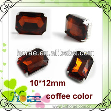 10*12mm rectangle coffee color sew on glass stones with claw