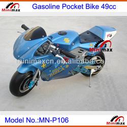 "Gasoline Pocket Bike MN-P106 2 stroke 49cc Pull Start Max Speed 60km/h with 10"" rubber wheel"