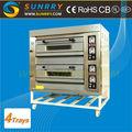 Frontal de acero inoxidable horno de panadería comercial 2 4 cubiertas de bandejas de horno de panadería para los precios ce( sy- dv24 sunrry)