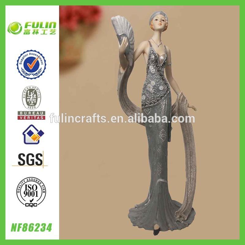 Africa Polyresin Woman Figurine Home Design Standing Resin Elegant Lady Sex Figurine