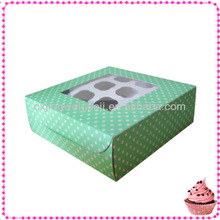 decorative printed paper cardboard cake box,cupcakes boxes with window,custom die cut paper cupcake box with divider