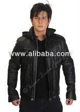 Men's Hooded Black Sheep Skin Genuine Leather Jacket