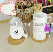 Funny leave massage ceramic coffee mug / multifunction note writing water mug