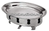 stainless steel Oval warmer platter with stand