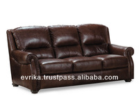 Three-seater sofa with genuine leather